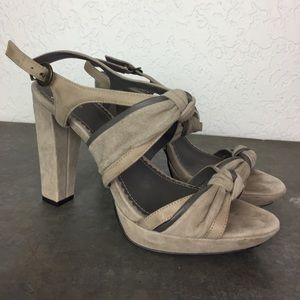 Anthropologie Miss Albright gray taupe heels 39